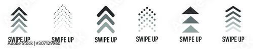 Valokuvatapetti Swipe up buttons set for social media. Flat design icons.