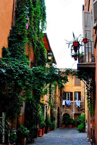 Romantic corner in a quiet and cozy street of Trestevere, in Rome Canvas Print