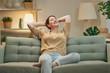 Leinwanddruck Bild - woman resting on sofa