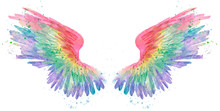 Rainbow Watercolor Spreaded Wings, Raster