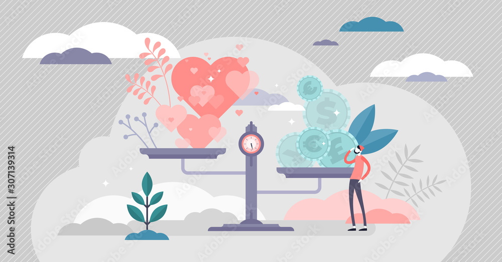 Fototapeta Values vector illustration. Money and love scales in tiny persons concept.