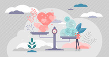 Values Vector Illustration. Money And Love Scales In Tiny Persons Concept.