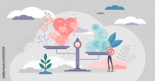 Fototapeta Values vector illustration. Money and love scales in tiny persons concept. obraz