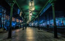 Old Railway Platform In Krakow, Poland. Christmas Eve