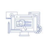 Fototapeta Sport - Web development and coding concept with flat design. Concept of line icon