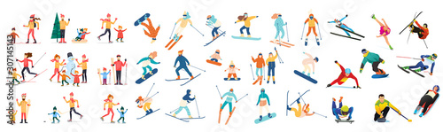 Winter sports with adult children. Skiing, skating, snowboarding, hockey. Snowman. Characters. Flat design vector illustration.