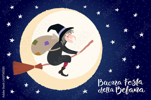 Photo Hand drawn vector illustration with witch Befana flying on broomstick, moon, stars, Italian text Buona Festa della Befana, Happy Epiphany
