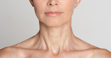 Skin Care. Half Face Portrait Of Mature Woman