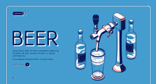 Beer Tap Isometric Landing Page, Alcohol Drink Pouring From Faucet With Handle To Glass In Bar Or Pub. Craft Brew Advertising Poster On Blue Retro Colored Background. 3d Vector Line Art Illustration