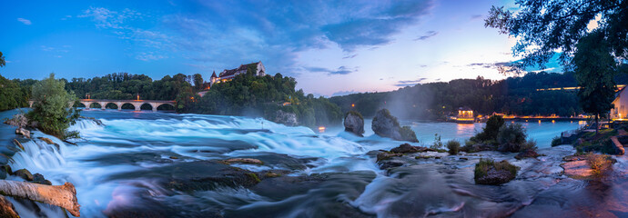 View of the Rhine Falls with the Laufen Castle in Neuhausen