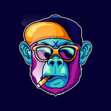 Cool Face Monkey Smoke Cigaret...