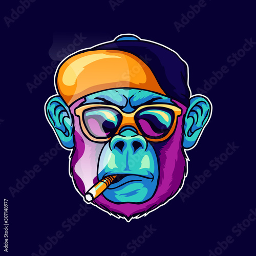 cool face monkey smoke cigarette wear a stylish glasses and cap hat vector illustration Canvas Print