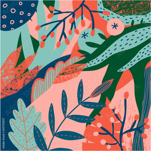Vector floral stylized pattern. Collage contemporary background. Berries, foliage, plants, leaves illustration. Autumn, spring nature.