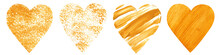 Hand Drawn Set Of Gold Hearts. Isolated Illustration On White Background. Valentine's Day Collection.