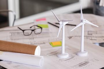 Wind turbines on architecture plan
