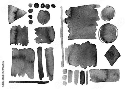 set di pennellate nere risorsa grafica acquerello Canvas Print
