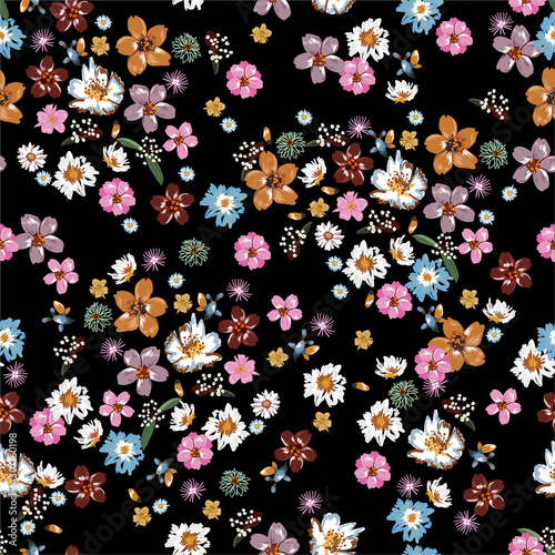 Colorful and stylish of liberty small booming floral and meadow flowers seamless Canvas Print