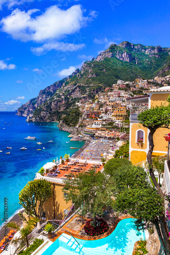 Wonderful Amalfi coast - beautiful Positano - popular for summer holidays. Travel and landmarks of Italy