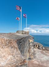 Puerto Rico El Morro Flags