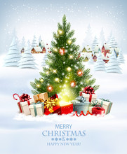 Merry Christmas And New Year Holiday Background With Presents, Christmas Tree And And Winter Village. Vector.