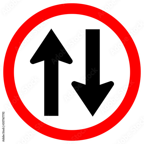 Two Way Traffic Road Sign, Vector Illustration, Isolate On White Background Label Fototapet
