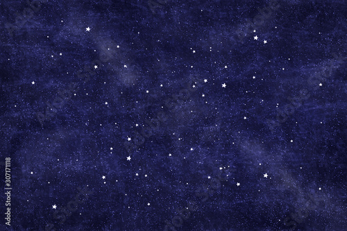 Fotografie, Obraz Beautiful starry blue background, Christmas texture with white stars and snow