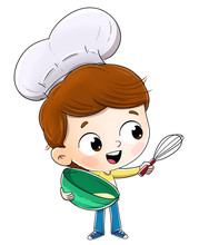 Boy Cooking With A Chef's Hat....