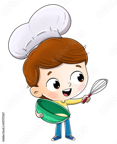 Boy cooking with a chef's hat. Prepare some pastry.