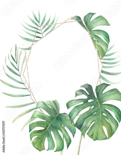 letni-nadruk-w-dzungli-akwarela-tropikalny-wieniec-z-lisci-palmowych-na-bialym-tle-recznie-rysowane-ilustracji