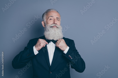 Canvas Print Close-up portrait of his he nice attractive content proud arrogant gray-haired m