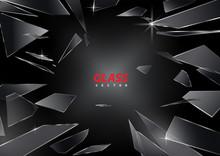 Shards Of Broken Glass Vector On Black Background