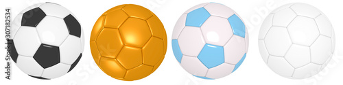Fotomural  Set of soccer ball with classic design isolated different positions on background with clipping path