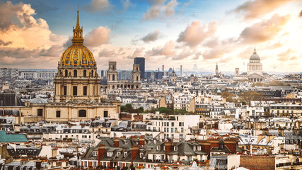 Aerial view of the Les Invalides and the Pantheon in Paris, France.