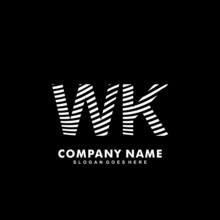 Initial Letter WK Zebra Style Wood Texture Template Logo