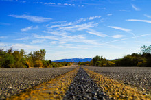 Empty Road Highway In Desert Landscape Joshua Tree Monument Sierra Nevada National Park Nature In California United States