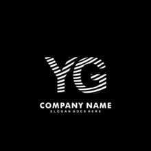 Initial Letter YG Zebra Style Wood Texture Template Logo