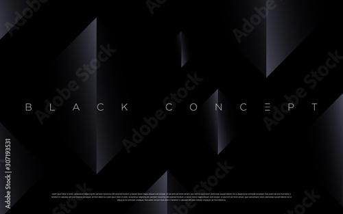 Fototapeta Minimalist black premium abstract background with luxury dark geometric elements. Exclusive wallpaper design for poster, brochure, presentation, website etc. - Vector EPS obraz