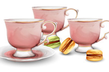 Pink Watercolor Tea Cups With ...