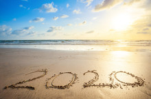 Happy New Year 2020 Text On Be...
