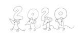 Fototapeta Fototapety na ścianę do pokoju dziecięcego - Cute cartoon rats. greeting card. Chinese Zodiac Sign Year of Rat. New Year 2020. Animal cartoon character set. Funny mouse and Christmas tree