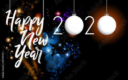 New year on a black background with special effects Canvas Print
