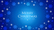 Blue Christmas background. Xmas illustration with decorative frame snowflakes. Merry Christmas card.