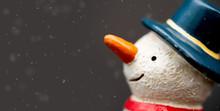 Happy Smiley Snowman Wear Blue...