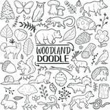 Fototapeta Fototapety na ścianę do pokoju dziecięcego - Woodland Animals Forest Traditional Doodle Icons Sketch Hand Made Design Vector.