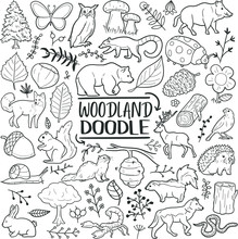 Woodland Animals Forest Traditional Doodle Icons Sketch Hand Made Design Vector.