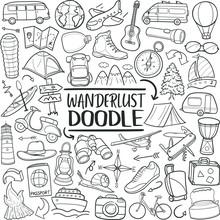 Wanderlust Lifestyle Travel. Doodle Line Art Illustration. Hand Drawn Vector Clip Art.