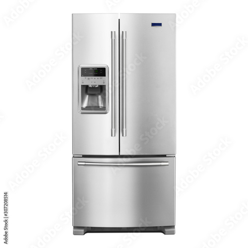 French Door Refrigerator Isolated on White Background Wallpaper Mural