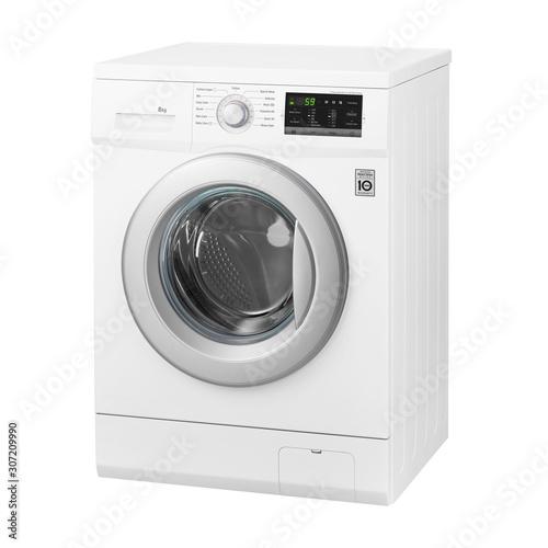 White Front Load Washing Machine Isolated on White Background Canvas Print