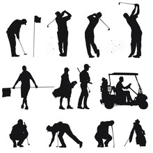 Vector Silhouettes Of Men Golf...
