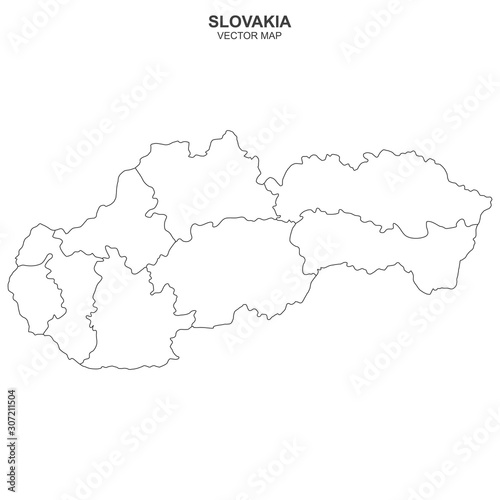 map of Slovakia isolated on white background Canvas Print